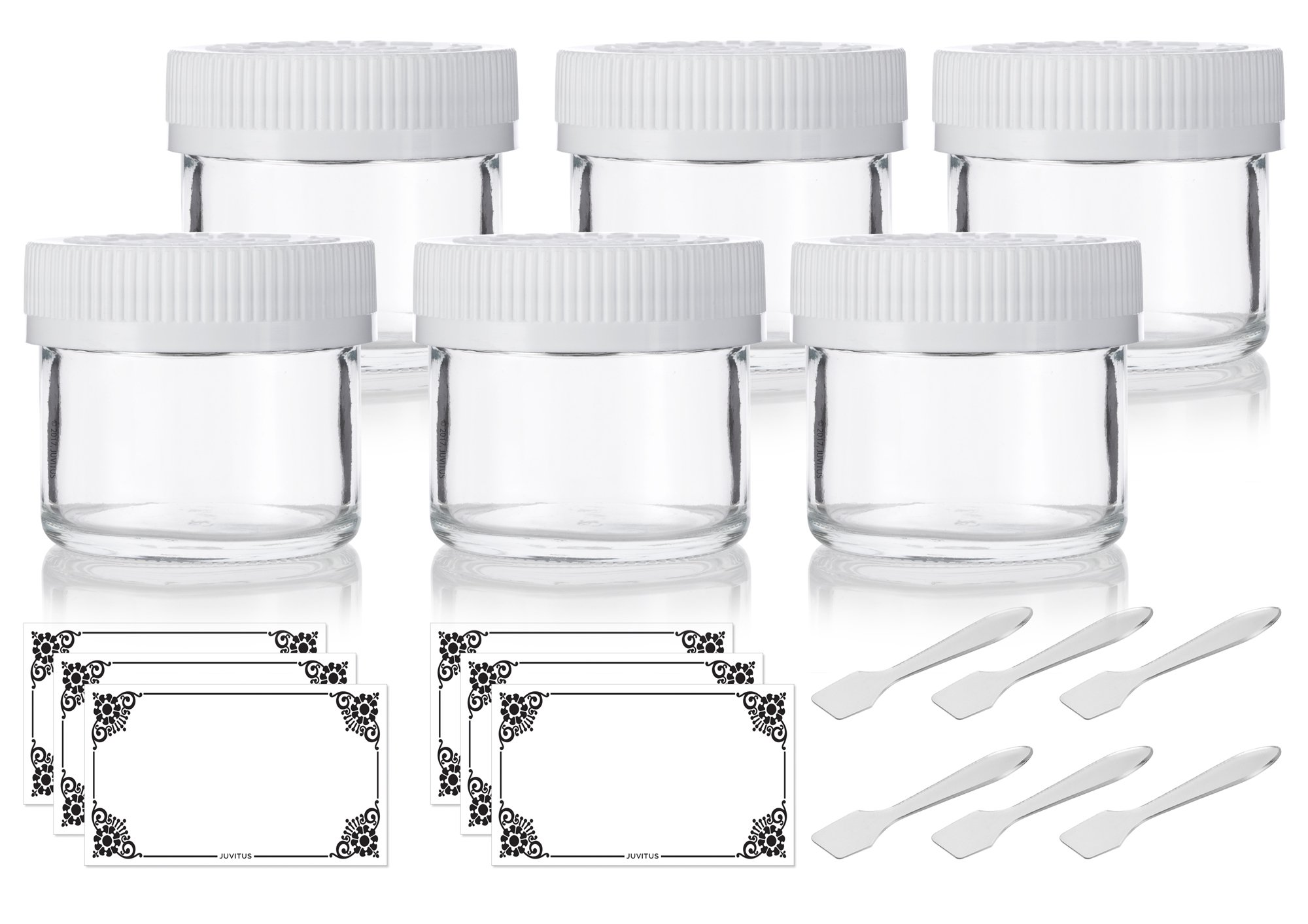 Clear Glass Straight Sided Jar with Child Resistant White Lid - 2 oz (6 Pack) + Spatulas and Labels