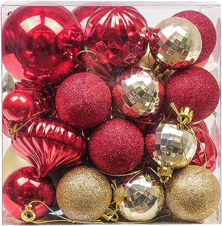 Valery Madelyn 50 Piezas Bolas de Navidad de 3-8 cm, Adornos Navideños para Arbol, Decoración de Bolas de Navidad Inastillable Plástico de Rojo y Dorado, Regalos de Colgantes de Navidad (Lujo): Amazon.es: