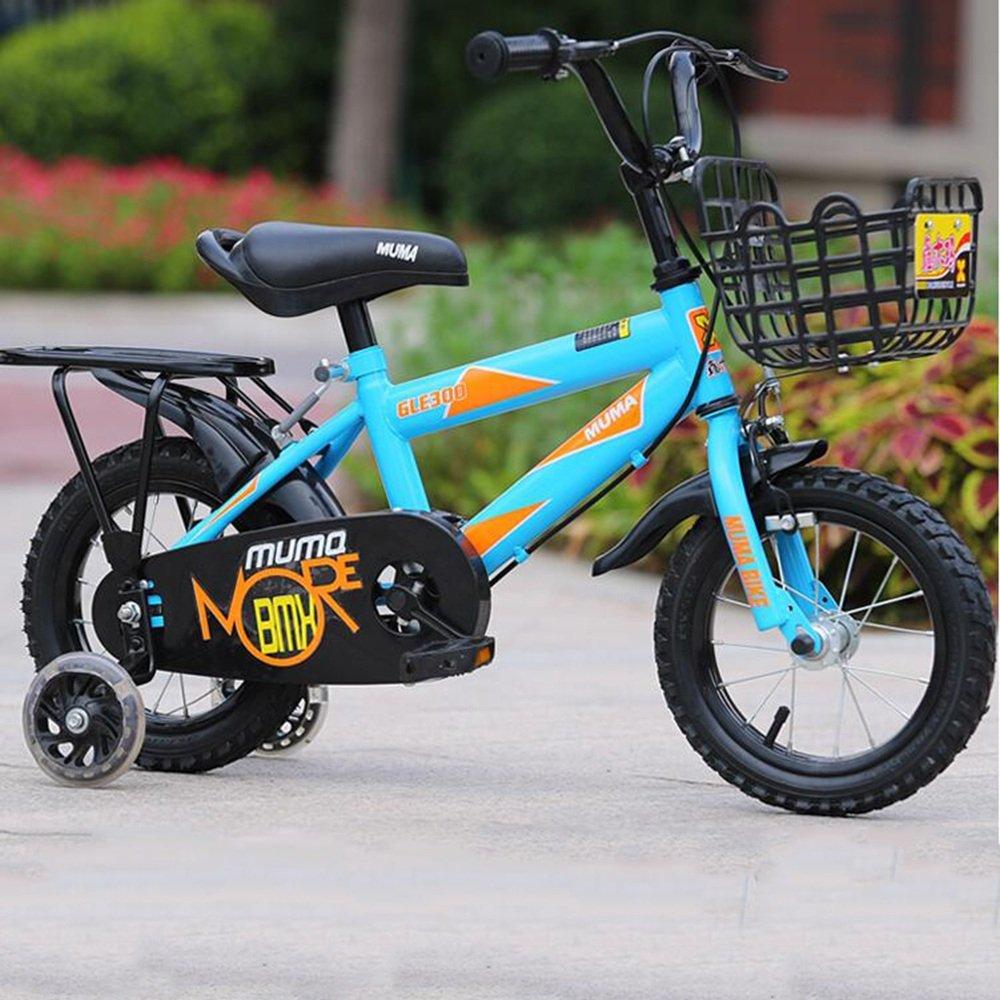 Bicicletas Duo Niños para Niños de 2 a 10 Años. 12 pulgadas/14 pulgadas/16 pulgadas/18 Pulgadas. (Color : Azul, Tamaño : 14 Inch)