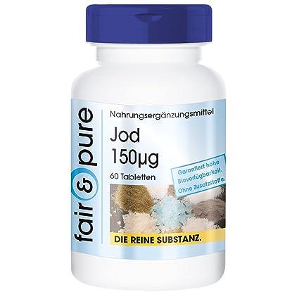 Yodo 150mcg procedente del yoduro de potasio - 60 comprimidos vegetarianas - Sustancia pura y sin