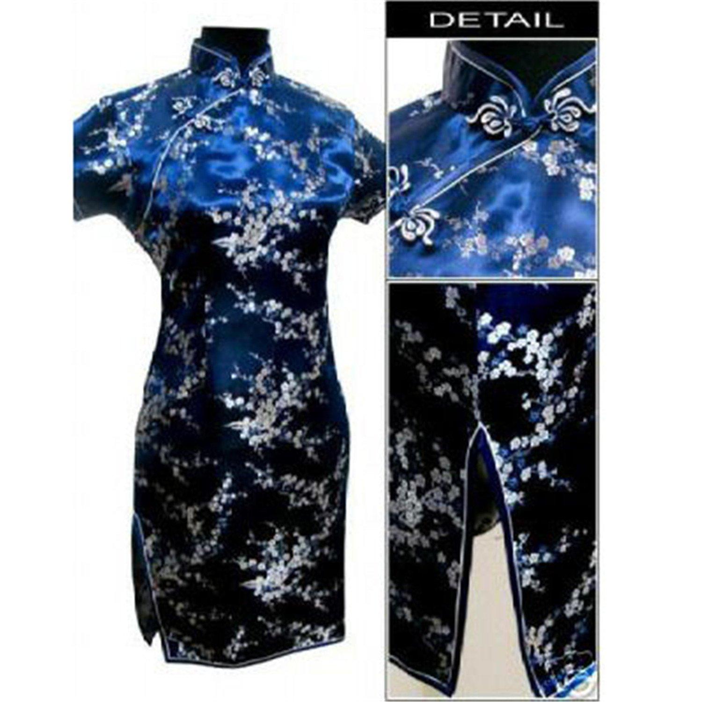 Rising ON Traditional Chinese Dress Women's Satin Qipao Mini Cheongsam Flower