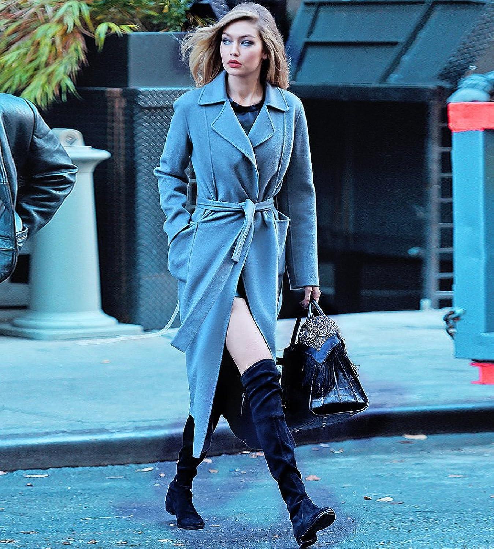 Hego Women's 2016 Winter Turn-down Collar Blue Long Wool Coat H2977