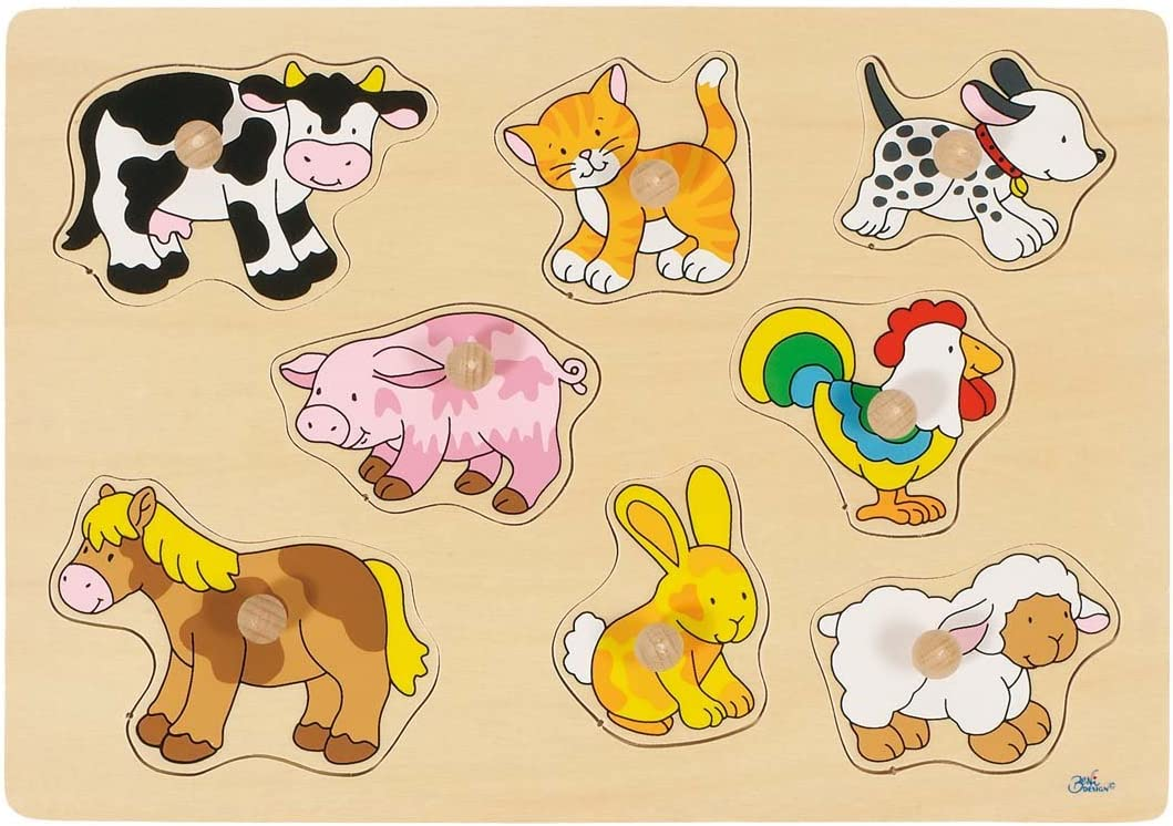 African Young Animal 9 Pieces 2041551 Wooden Recessed Puzzle Goki