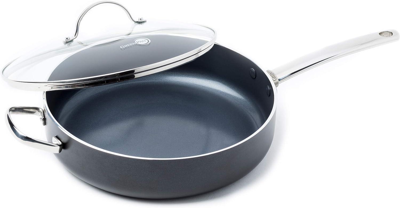 Noir 24cm GREENPAN BONN BLACK CC000852-001 Sauteuse avec Couvercle Aluminium