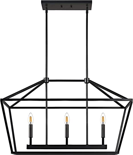 Amazon Com Motini 3 Light Kitchen Island Lantern Pendant Linear Chandelier Black Rod Hanging Light 32 X 12 X 19 Home Improvement