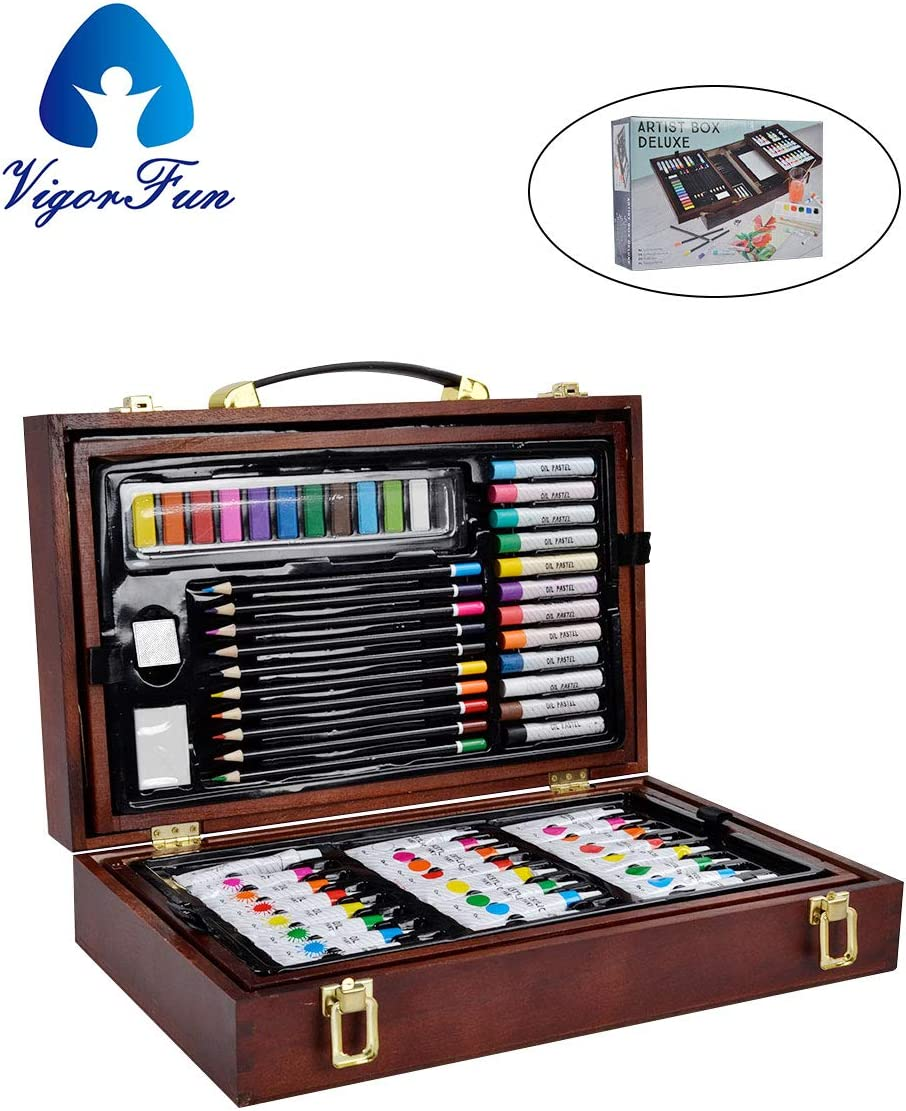 Vigorfun Deluxe Art Set in Wooden Case, with Soft & Oil Pastels, Acrylic & Watercolor Paints, Water Color, Sketching, Charcoal & Colored Pencils, Watercolor Cakes and Tools (Wooden) : Office Products