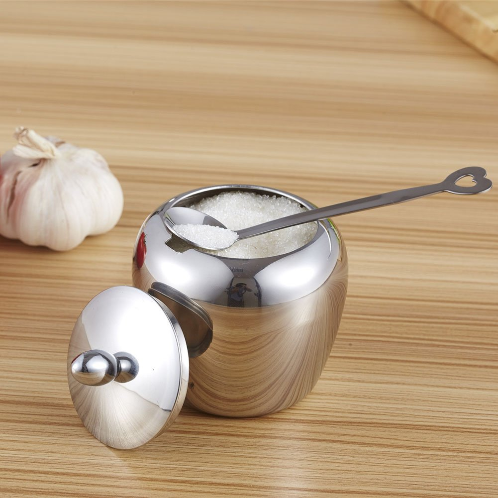 Demiawaking Apple-shape Stainless Steel Kitchen Sugar Bowl Condiments Container with Lid, Spoon and Knob