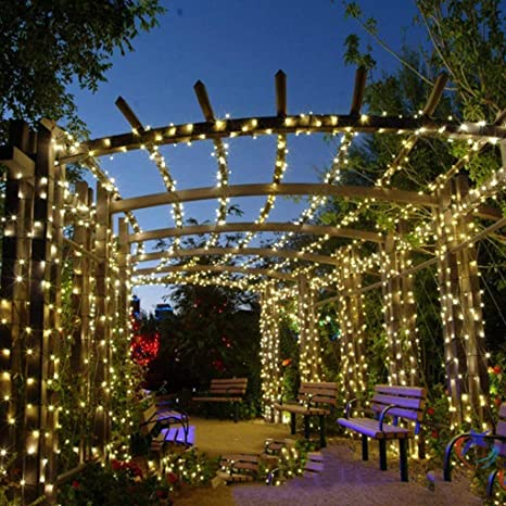 QTCWRL-cadenas Luces De La Secuencia, Solar De Plug-in De Doble Uso De Luces LED Cadena Luces Villa Jardín Patio Terraza Balcón Impermeable Al Aire Libre Luces Decorativas (32M, 52M, 102M): Amazon.es: Hogar