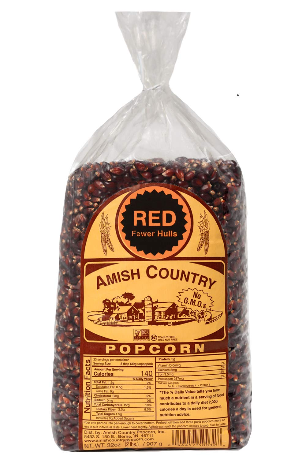 Amish Country Popcorn - Red Kernels (2 Pound Bag) - Old Fashioned, Non GMO, and Gluten Free - with Recipe Guide by Amish Country Popcorn