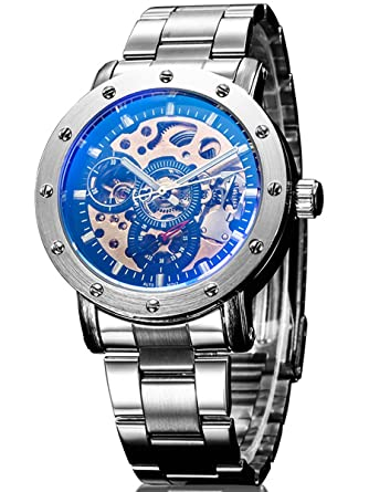 Alienwork IK Reloj Mecánico Automático Relojes Automáticos Hombre Mujer Acero Inoxidable Plata Analógicos Unisex Negro Impermeable Esqueleto: Amazon.es: ...