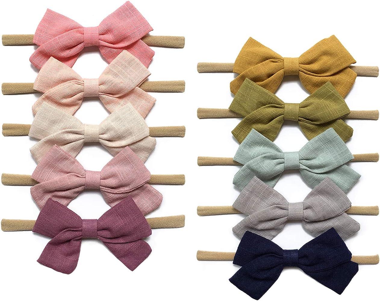 Baby Linen Headband Bow