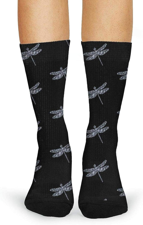 XIdan-die Womens Over-the-Calf Tube Socks diamond dragonfly Moisture Wicking Casual Socks