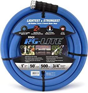 "AG-Lite Rubber Hot & Cold Water Rubber Garden Hose: Ultra-Light & Super Strong - 2X the water flow than 5/8"" hose (1""x 50') - BSALONE50"