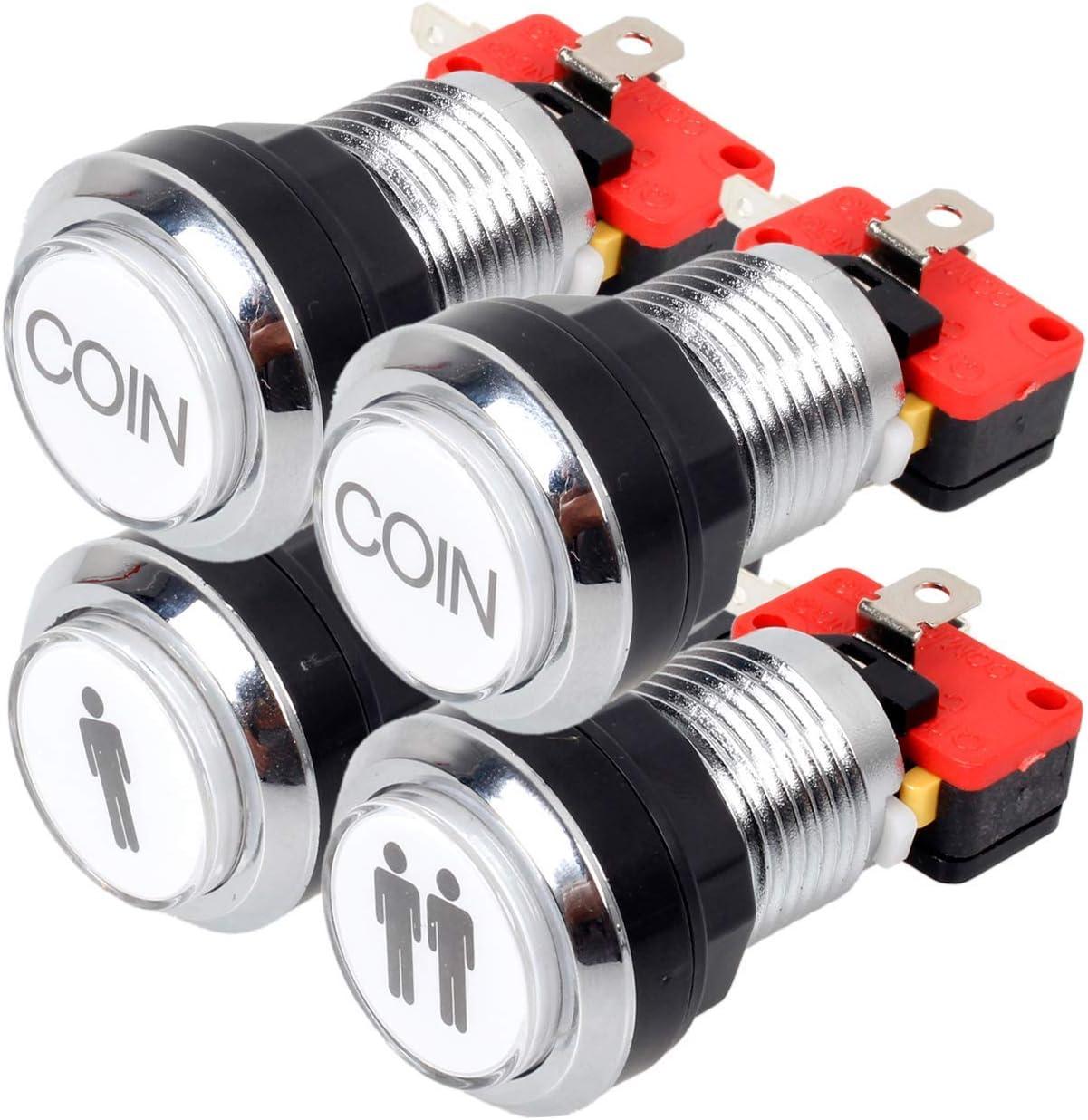 EG STARTS Arcade botones de cromo plateado 5V / 12V LED de un botón luminoso 1P / 2P jugador inicial botones / Coin 2x Botones de MAME / JAMMA / juegos de lucha / video juegos arcade de piezas del kit