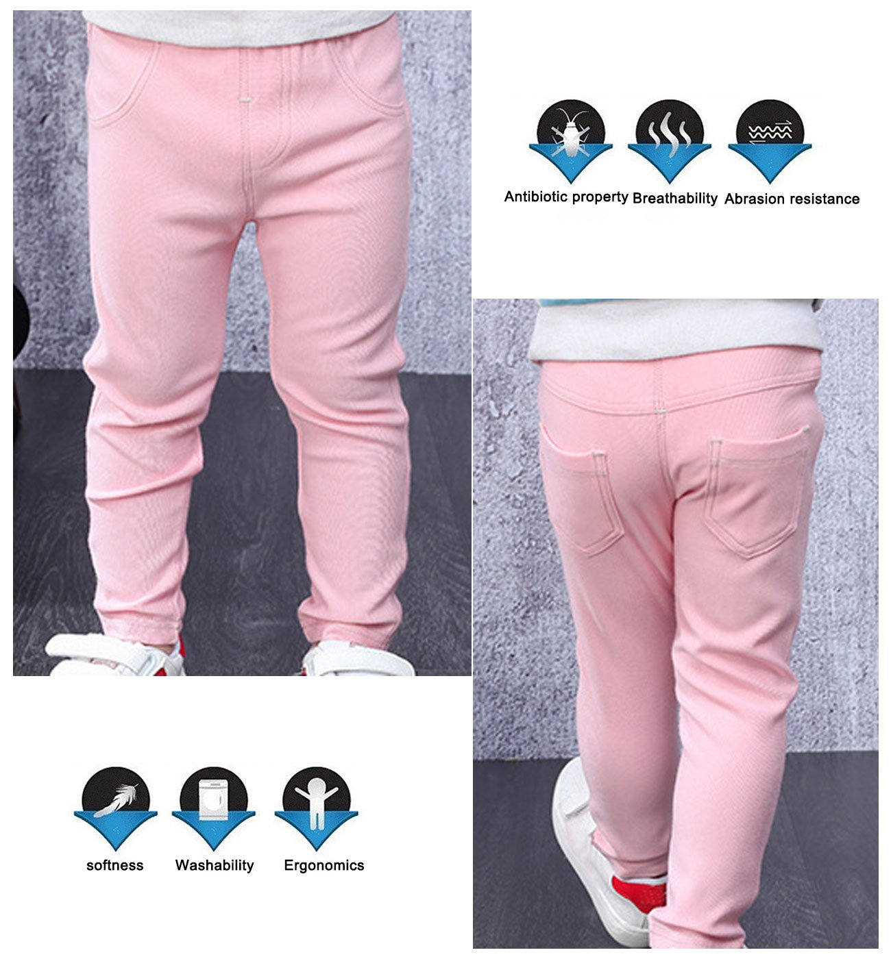 Baby Girls Denim Jeans Stretchy Leggings Pants Cotton Breathable Trousers Elastic Waist Summer Pants for Baby Boys Girls 0-6 Months Pink by MMWORM (Image #4)