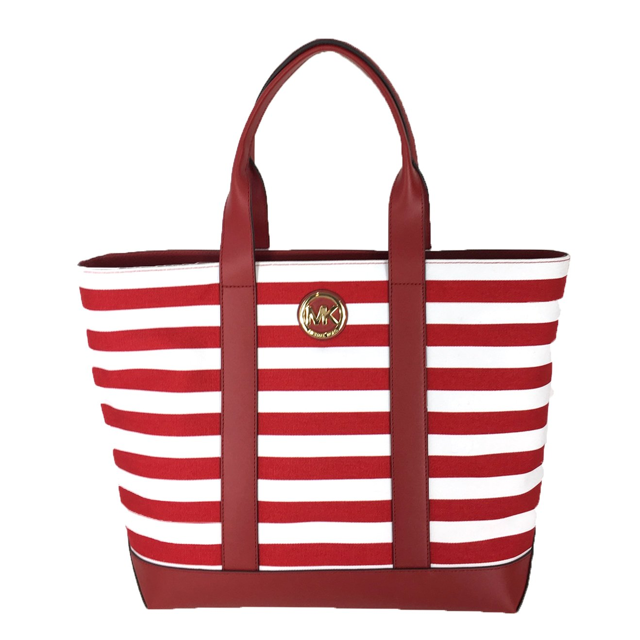 32e0e952b285c5 Michael Kors Fulton Striped Canvas Large Tote, Red/White: Handbags:  Amazon.com