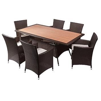 Rotin Design Rattan Sitzgruppe Miami Mit Esstisch 6 Personen