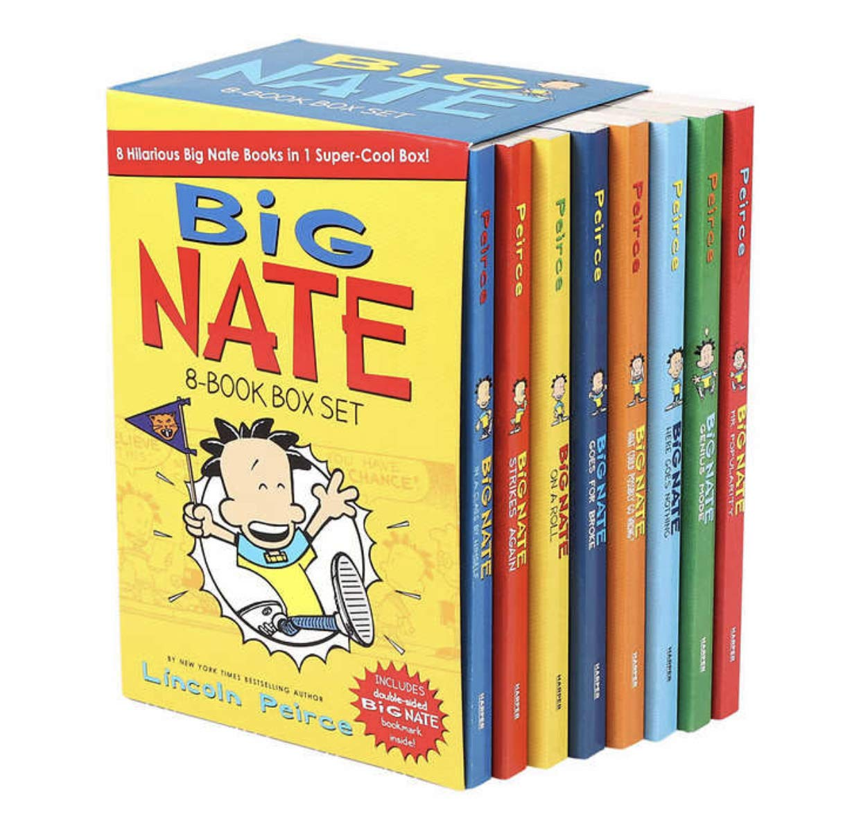 Big Nate Lincoln Peirce Series 8 Books Box Gift Set Includes Mr Popularity,Genius Mode, Here Goes Nothing,What Could Possibly go Wrong, Goes for Broke,On a Roll, Strikes Again,In a Class by Himself
