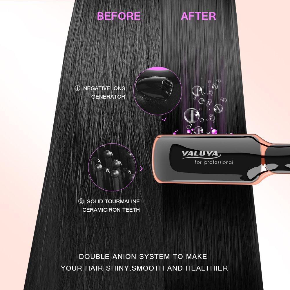 Hair Straightening Brush YALUYA Hair Straightener Brush Ceramic Portable Electric Heat Brush Straightening Irons Hair Care Brush Anti Scald Ionic Teeth Comb for Travel Women's Day Gift (Black) by YALUYA (Image #5)