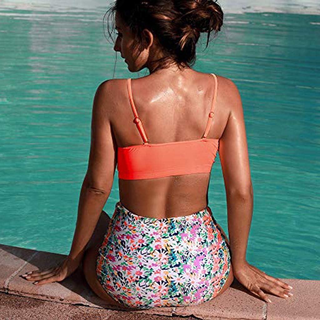 Swimsuits for Women,Ladies Vintage Two Piece Swimwear Retro Beachwear Push Up Bikini High Waisted Bathing Suits