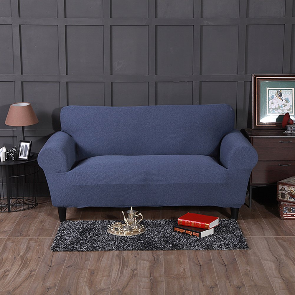 Hotniu Stretch Universal Sofa Covers Striped Couches Slipcover Sofa Furniture Protector 1 Piece(4 Seater Sofa for 92''-118'',Denim Blue)