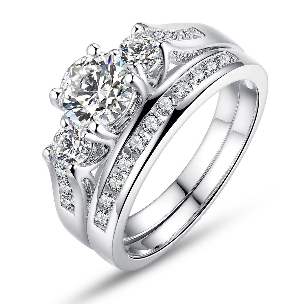 BISAER Set of 2 18K White Gold Plated Rings Princess Cut Round Prong Set 3 Stone Diamond Cubic Zirconia Halo Engagement Wedding Ring Set Fashion Jewelry for Women Men Girls Sizes 6 Bamoer HNR024-6