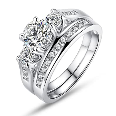 1e45f75b540fb BISAER Love Cubic Zirconia Engagement Wedding Rings Set for Women,Set of 2  White Gold Plated Princess Cut Promise Ring Fashion Jewelry for Women Men  ...