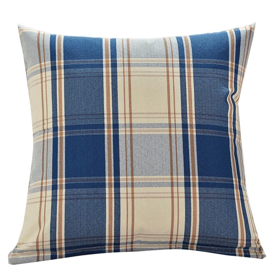 Kimloog Square Decorative Throw Pillow Cover 18''x18''Plaid Tartan Linen Cotton Cushion Case For Couch Bed Car KMG-0001