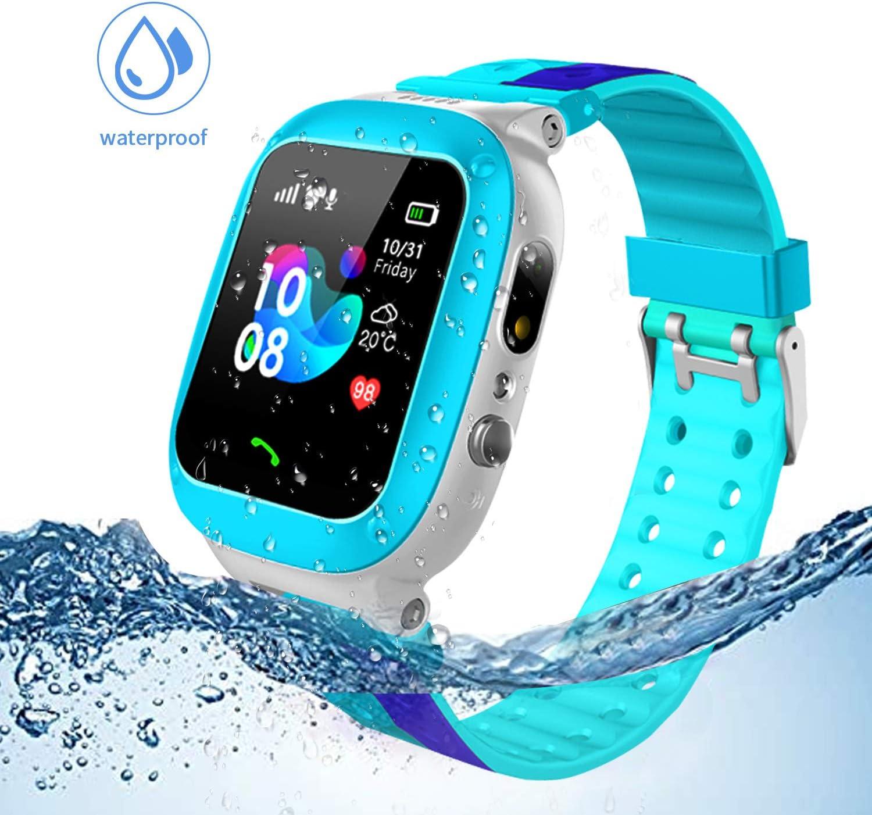 Jslai Niños Smartwatch Imprägniern,Inteligente Relojes Telefono, LBS Tracker de Alarma SOS Infantil Relojes de Pulsera Cámara Reloj móvil Mejor Regalo para Niño niña de 3-12 años (Blue)