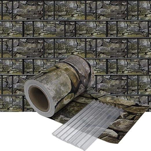 HENGMEI 65m x 19cm PVC Valla Tiras de Protectora de privacidad Pantalla Proteción visual jardín terraza, Mirada de Piedra: Amazon.es: Jardín