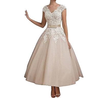 Yasiou Hochzeitskleid Standesamt Damen Weiss Vintage Tiefer Rucken A