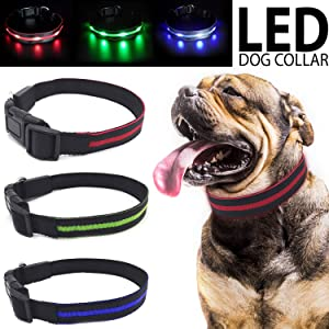 Talis LED Light-Up Dog Collar (USB, Battery-Operated New Upgrade 2019) Improved Pet Safety &Visibility at Night Waterproof Collar Fits for Small Medium Large Dogs 3 Flashing Modes