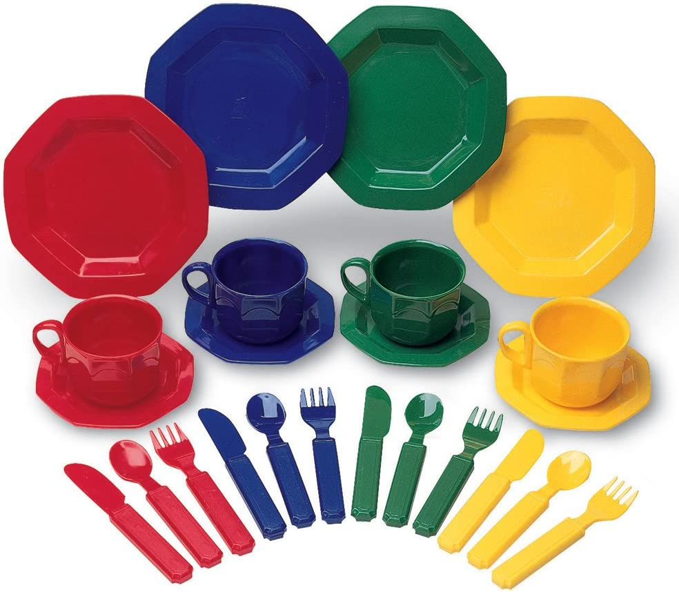 Learning Resources Play Dishes, Colorful Kitchen Toy Plate Set, 24 Piece Set, Ages 3+
