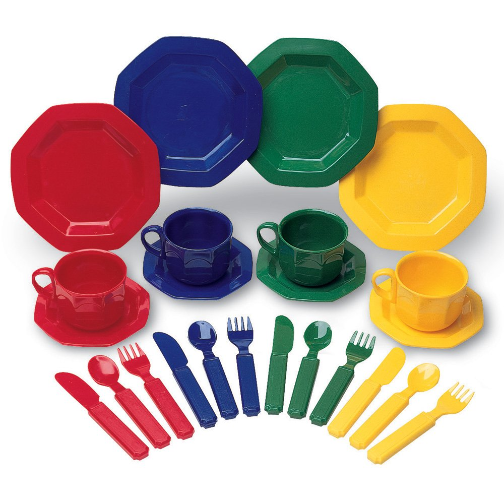 Learning Resources Play Dishes, Colorful Kitchen Toy Plate Set, 24 Piece Set, Ages 3+ by Learning Resources