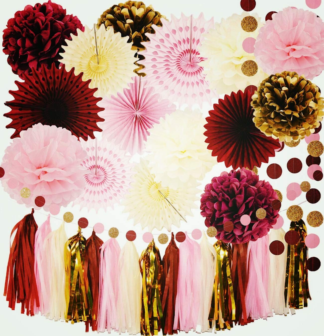 Fall Bridal Shower Decorations Qian's Party Maroon Party Decorations Burgundy Pink Gold Fall Birthday Decorations Tissue Paper Pom Pom Autumn Burgundy Wedding/Bachelorette Party Decorations by Qian's Party