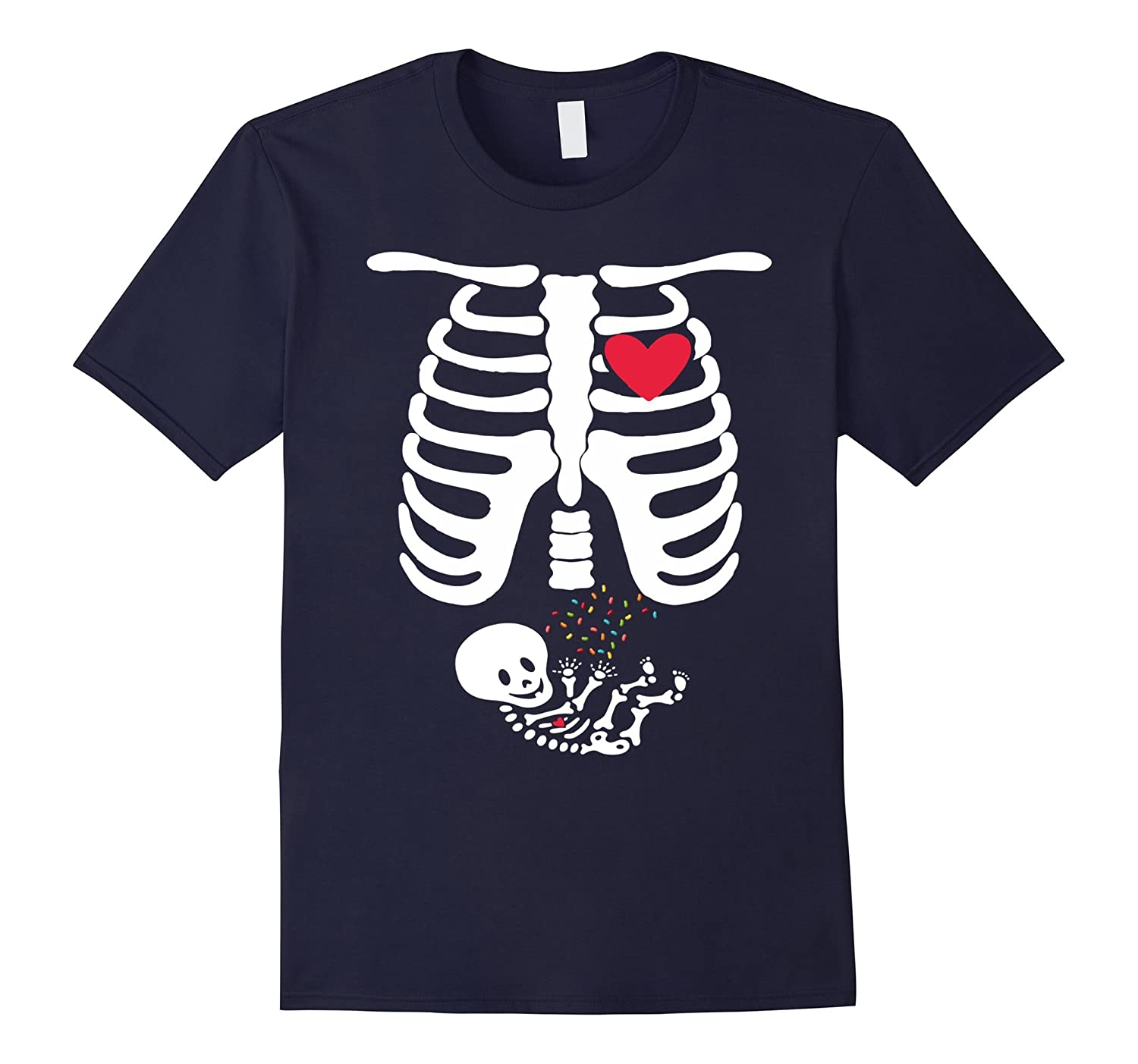 Halloween Skeleton Rib Cage X-ray Costume Candy Mom Shirt-CL