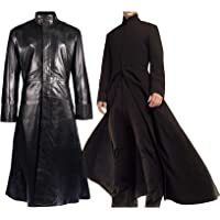Aus Eshop Mens Matrix Neo Keanu Reeves Round Collar Black Trench Coat