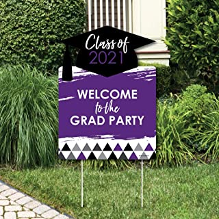 product image for Big Dot of Happiness Purple Grad - Best is Yet to Come - Party Decorations - Purple 2021 Graduation Party Welcome Yard Sign