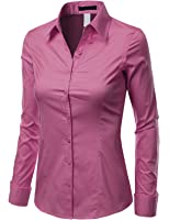Doublju Womens Basic Long Sleeve Cotton Button Down Collared Shirt