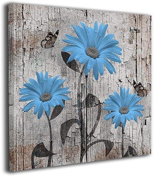 Teal Gray Daisy Flowers Butterflies Bathroom Bedroom Living Room Wall Art