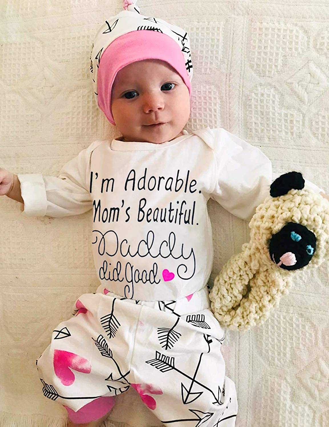 Baby Girl Clothes Cute Letter Romper Headband Arrow Heart Pants Hat Outfits 4pcs