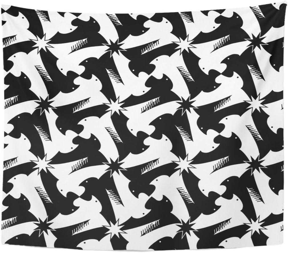 Amazon Tompopタペストリー動物千鳥格子pied De Poule Griffinリビングルームベッドルームのブラックとホワイトパターンクラシックエッシャースタイル鳥チェックホームインテリア壁吊り寮 50 X 60 ブルー シャワーカーテン ホーム キッチン オンライン通販