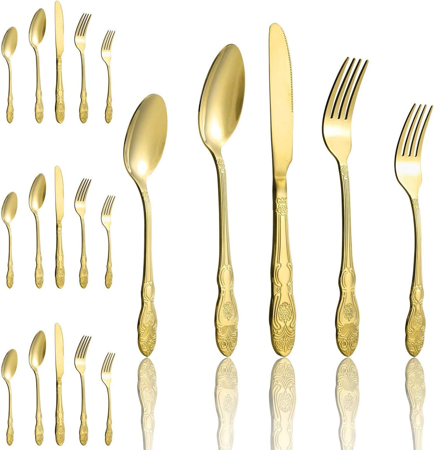 Amazon Com 20 Piece Gold Flatware Silverware Stainless Steel Cutlery Set Service For 4 Ideal For Home Wedding Christmas Thanksgiving Festival Party Gift Flatware Sets