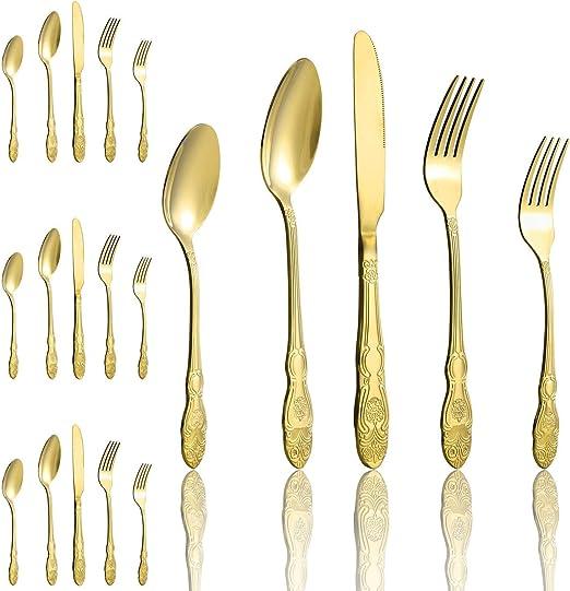cubiertos para 4 personas Juego de cubiertos de 16 piezas de acero inoxidable dorado