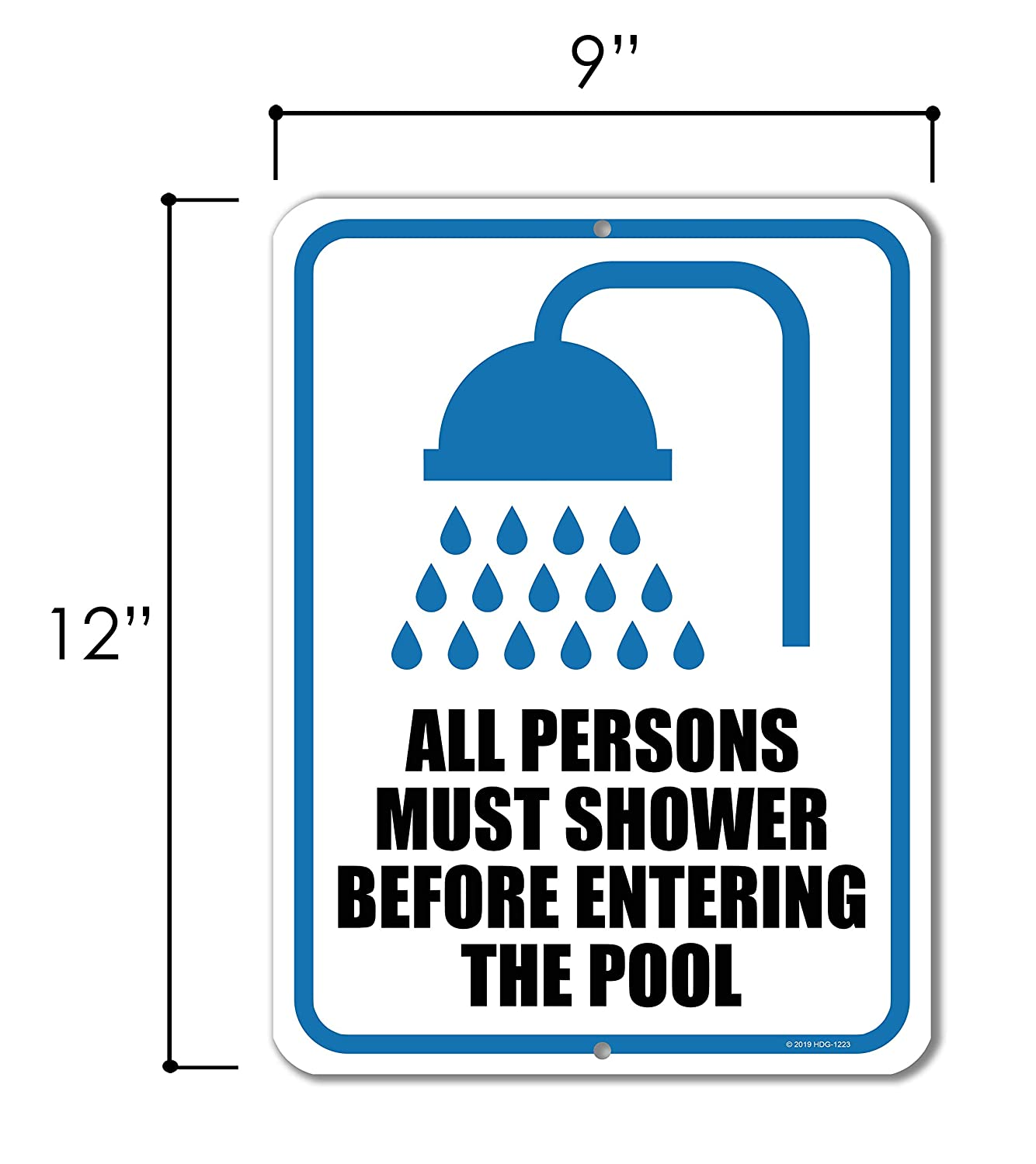 Honey Dew Gifts Pool Rules Sign Made in USA All Persons Must Shower Before Entering The Pool 9 inch by 12 inch Metal Pool Signs and Decor Outdoor