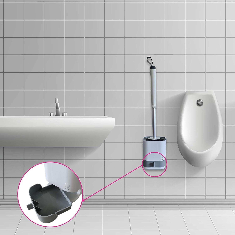 leichte Montage Kein Bohren herausnehmbarer Auffangbeh/älter schnell trocknend Lotuseffekt Silikonb/ürsten BillundBilly Silikon WC B/ürste Set mit 2 B/ürsten