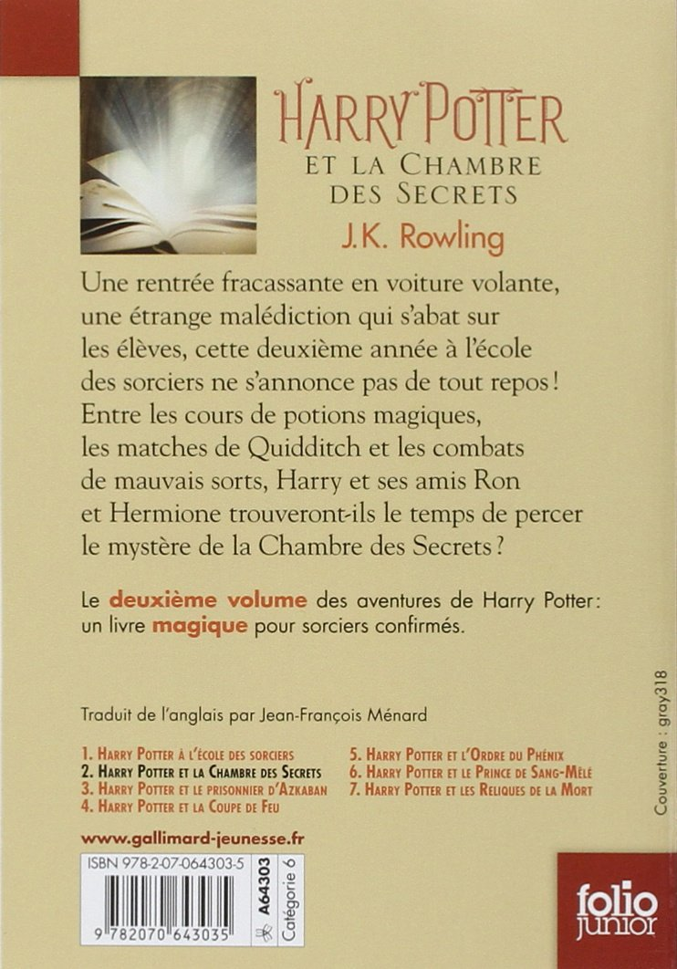 Harry Potter Et La Chambre Des Secrets French Edition
