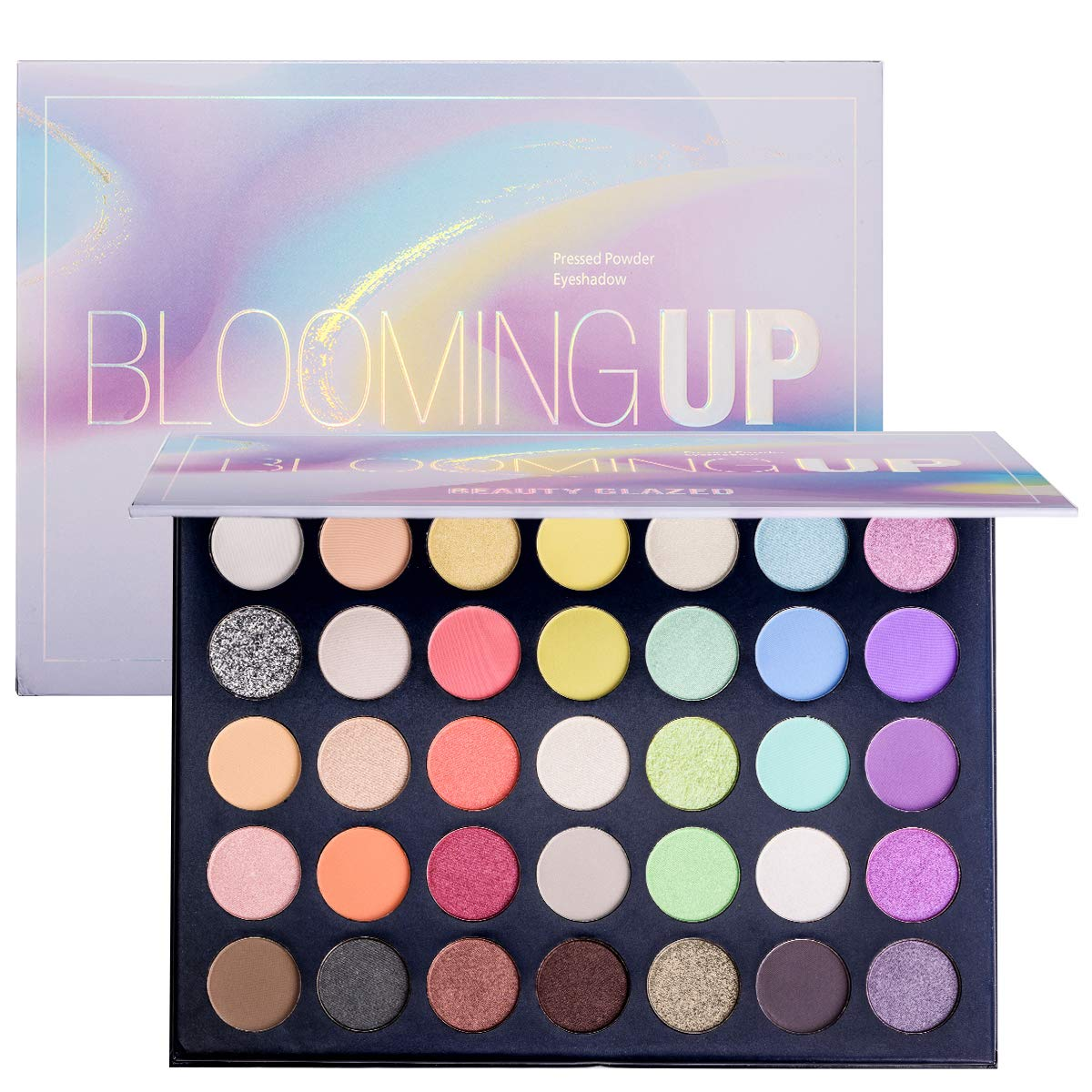 Beauty Glazed Eye Makeup Palette Glitter Matte and Shimmer Highlighter Eyeshadow Makeup Palette 35 Colors Make Up Palette Blooming Up Eye Shadow High Pigmented Blendable Waterproof and Sweatproof