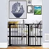 Xifamniy Extra Wide Walk Through Baby Gate Pressure Mounted 24.80-81.50inch White Metal Pet Child Safety for Door,Hallway,Sta