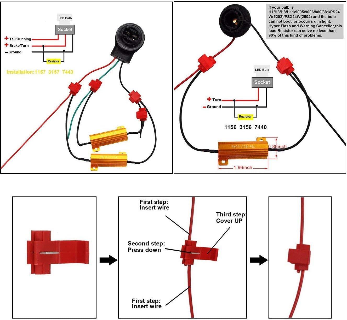 amazon.com: hocolo 3157 3057 3155 3357 3457 4057 4114 4157 3056 3156 led  resistor kit relay harness adapter anti flicker error decoder warning  canceller (2pcs 3157-resistor decoder): automotive  amazon.com
